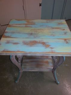 Multicolored table painted with Coastal Palm, Turquoise Toulouse, Dijon and… Distressed Furniture, Upcycled Furniture, Paint Furniture, Furniture Makeover, Favorite Paint Colors, Decorating Your Home, Decoupage, Table, Yellow
