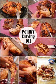 Step by step instructions and tips for easy poultry carving. No more hacked chicken or turkey - Rae Gun Ramblings