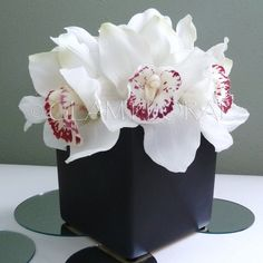 Cymbidium Orchids in Square Vase. Centerpiece or Floral Arrangement  .  Orange Cream white Yellow Flame Red Light Lime Green Pink Cream via Etsy