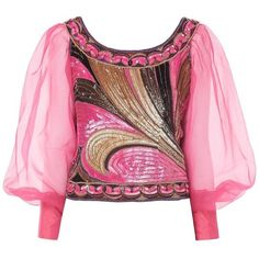 Preowned Pucci Pink Sequin Top With Organza Sleeves, Circa 1968 (120.040 RUB) ❤ liked on Polyvore featuring tops, blouses, pink, long sleeve scoop neck top, sequin embellished top, sequin sleeve top, organza top and sleeve top