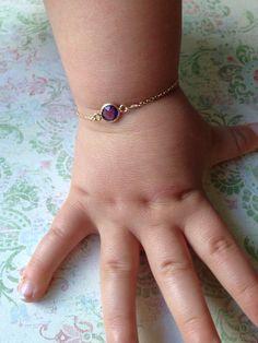 Baby Girl Gift, amethyst baby bracelet, infant jewelry, Amethyst, birthstone February , baby shower gift, gold baby bracelet ,  on Etsy, $29.99