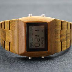 Mens Watch Wood - Retro Men's Watch - LED Men's Watch - Eco-friendly Natural Sandal Wooden Watch