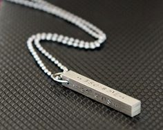 Men's Steel Bar Necklace - Hand Stamped Pendant - Personalized Jewelry - Men's Gift. $24.00, via Etsy.