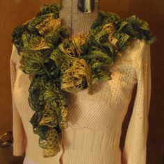 Green Tan Brown Gold Shimmer Ruffle Scarf, Freeform Crochet, Glam Boa Wrap, Woodsy Forest