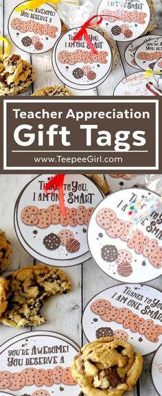 """These cookie teacher appreciation gift tags are perfect for expressing your gratitude to teachers at school, church, and in the community. Or you can you the """"You're awesome"""" tag for anyone who deserves to know you care! Get them today at www.TeepeeGirl.com."""