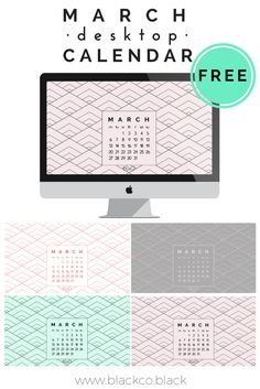 March freebie. Free wallpaper. Always handy to have a calendar on your desktop. Choose your favorite color and get your Free March Desktop Calendar!