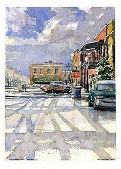 South Railroad Avenue in Snow Opelika, Alabama by Iain Stewart Watercolor ~ 13 x…