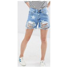 Mid rise fresh blue denim stars pattern fashion shorts summer casual broken ripped jeans straight tassel washed jeans shorts