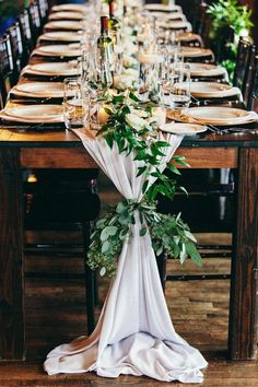 Communal Table with Greenery Table Runner    #aislesociety #wedding #weddingday