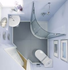 Small bathroom idea; I like how everything is in the corners. Very different.