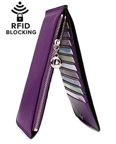 Women's RFID Blocking Genuine Leather Multi Card Organizer Wallet with Zipper Pocket Leather Wallet, Leather Bag, Cow Leather, Rfid Wallet, Purse Wallet, Front Pocket Wallet, Best Wallet, Card Organizer, Wallet Pattern