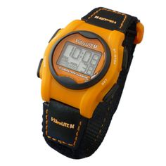VibraLITE Mini Vibration Watch-Black-Orange Hook-Loop Band - This device is used for many different reasons.  Its uses are more directed towards the deaf and hard of hearing because of its vibrating alarm system.  Its features include large easy-to-read digits, 12 daily alarms, and vibration alarm, sound alarm, or both.  This product can be used at home, school, or any other environment.