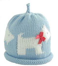 New Merry Berry Berries Pale Blue Scottie Dog Hat Baby Girls Boys