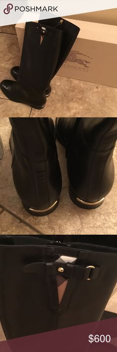 Burberry Mapledene Riding Boot. Wearing few time. 1'' heel height, 16'' boot shaft, 15'' calf circumference, side zip closure,inset elastic goring, leather and texture upper/ leather lining, rubber sole.Made in Italy. Burberry Shoes Winter & Rain Boots