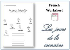 Downloadable Printable French Worksheet. Days of the Week Topic. Writing Activity. Teaching Resources for Teachers and for Homeschooling. Education.