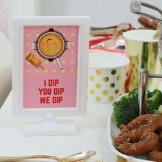 Free Printable Signs for a Fun Fondue Party - get details and food, decor, and table setting ideas for both dinner and dessert at fernandmaple.com!