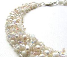 Pearl Romance Necklace Wedding Jewellery Beaded Bridal by nemeton