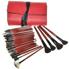 30kits Set Professional Foundation Makeup Brush Setsroll up Red Bag *** You can get additional details at the image link. (Note:Amazon affiliate link)