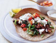 Smoky Black Bean Tostadas with Garlicky Greens Recipe | Vegetarian Times