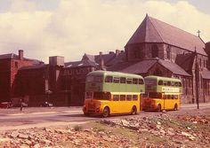 A temporary bus terminus at Glebe Street, Glasgow, on 16 May (Pic: Guy Arab UF) Scotland Kilt, Glasgow Scotland, Old Photos, Transportation, Street, City, Coaches, Pictures, Buses