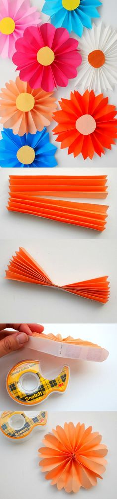 How to Make Paper Flowers - the Easiest Way! - DIY Candy : These accordion paper flowers are so easy to make that even a child can do it - pick bright, bold origami patterns to make them really stand out! How To Make Paper Flowers, Tissue Paper Flowers, Diy Flowers, Origami Flowers, Paper Flower Diy Easy, Wedding Flowers, Paper Leaves, Orange Flowers, Diy Wedding