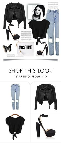 """""""MOSCHINO"""" by esma-373 ❤ liked on Polyvore featuring Topshop, Oris, Prada and Moschino"""