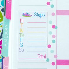 Daily Steps Tracker Weekly Sidebar Stickers | Set of 5 | Erin Condren Life Planner, Inkwell, Plum Paper, Calendar, Scrapbook