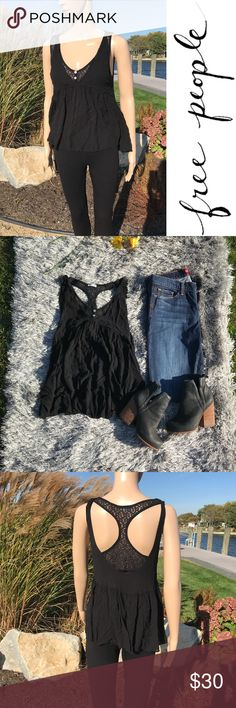 Black free people blouse with lace illusion tank Black free people blouse with lace illusion tank  New without tags ,  perfect condition no rips tears or pulls  Size:Xs but can a small   Buy 2 ITEMS GET 3rd HALF OFF , offering bundle discounts & accepting all reasonable offers Free People Tops Blouses