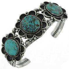 Three Stone Turquoise Cuff with Bisbee II stones. Turquoise Cuff, Turquoise Jewelry, Turquoise Bracelet, Silver Jewelry, Jewlery, Love Bracelets, Fashion Bracelets, Fashion Jewelry, Navajo Jewelry