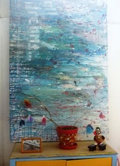 Marble painting on large canvas