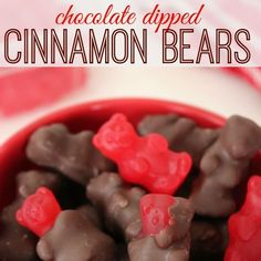 Looking for a simple treat to make? Enjoy these 2-ingredient Chocolate dipped cinnamon bears!