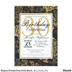 Elegant Swanky Faux Gold, Black, & Gray Floral Card Elegant and swanky faux printed gold, black, and gray floral outline, Birthday party invitations. Very classic and sophisticated design for the classy Birthday lady. Personalize with your own message and monogram on the back. All photo print design