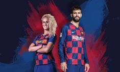 FC Barcelona have released their home jersey from Nike. It is the Spanish La Liga giants' first ever checkered shirt. Fc Barcelona, Barcelona Soccer, Maillot Bayern Munich, Liverpool, Short Blanc, Chelsea, Logo Nike, Football Fashion, Blue Socks