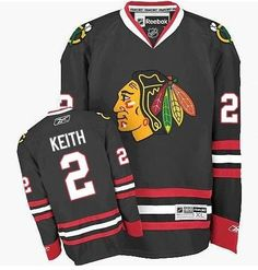 CHICAGO BLACKHAWKS MENS DUNCAN KEITH PREMIER BLACK ALTERNATE JERSEY WITH AUTHENTIC TACKLE-TWILL LETTERING