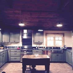 This brick kitchen floor is the San Sebastian style, in a custom color mix.