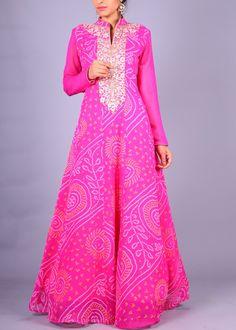 Pink Georgette Anarkali   VAS19051642   Vasansi Jaipur