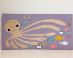 Large Hand Painted Octopus On Wood, Nautical Nursery Decor, Kids Bathroom Art, Octopus Art, Octopi Wall Art, Ocean Animal Art, Kids Wall Art