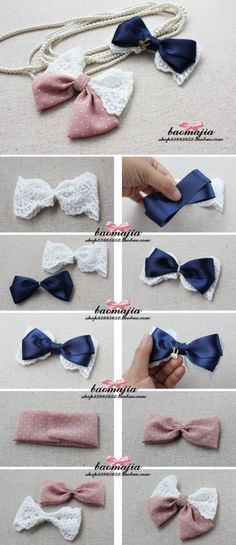 Lace and ribbon hair bows.