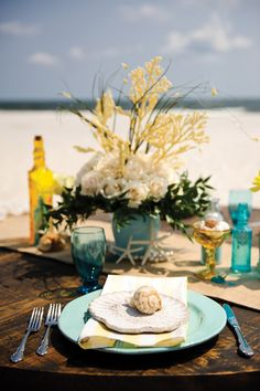 Yellow and aqua beach wedding tablescape. #beach #wedding #decor