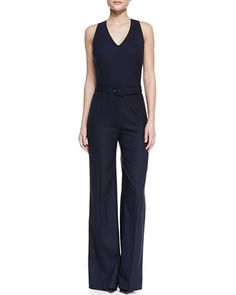 Trinity Sleeveless Belted Crepe Jumpsuit by Tory Burch at Neiman Marcus.
