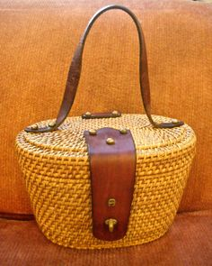 1960s Etienne Aigner Woven Basket Box Purse by dragonflyonbrady, $40.00