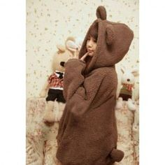 SammyDress - Loose-Fitting Thicken Bear Ears Shape Hoodie For Women