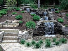 Small Waterfall Pond Landscaping For Backyard Decor Ideas 97 - DecOMG Backyard Water Feature, Ponds Backyard, Backyard Waterfalls, Backyard Ideas, Garden Ponds, Desert Backyard, Koi Ponds, Garden Waterfall, Small Waterfall