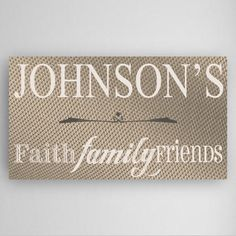 Home decor has never been more personal! This personalized gallery wrapped canvas is a perfect wedding gift. It boasts three important things: faith, family, and friends. A wonder addition to all home decor styles.