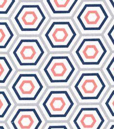 Keepsake Calico™ Cotton Fabric-Hexagon Blue, Gray, Coral