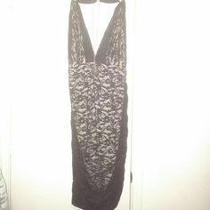 NWOT VS MODA Lace dress Gorgeous black dress! Adjustable halter top, rouched sides. Nude underlining. Victoria secret. Not worn. Moda International Dresses