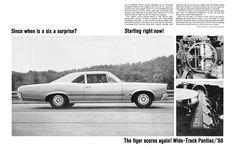 1966 Pontiac Tempest OHC 6 Sprint,  Since when is a six a surprise? ad. Pontiac Tempest, 70s Cars, Car Storage, Car Advertising, Pontiac Gto, Car Stuff, Le Mans, Buick, Car Pictures