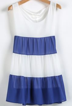 Blue White Striped Sleeveless Chiffon Sundress - Sheinside.com