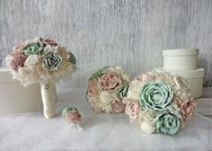 Dusty pink and mint Sola bridal bouquet by FlowerBootsLigaAsere