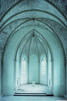 Interior of a Belgium church in a beautiful teal Gothic Architecture, Beautiful Architecture, Beautiful Buildings, Architecture Design, Contemporary Architecture, Shades Of Turquoise, Shades Of Blue, Cathedral Church, Old Churches